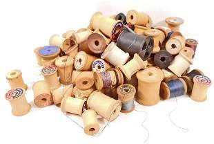 LARGE LOT OF VINTAGE WOODEN SEWING THREAD SPOOLS