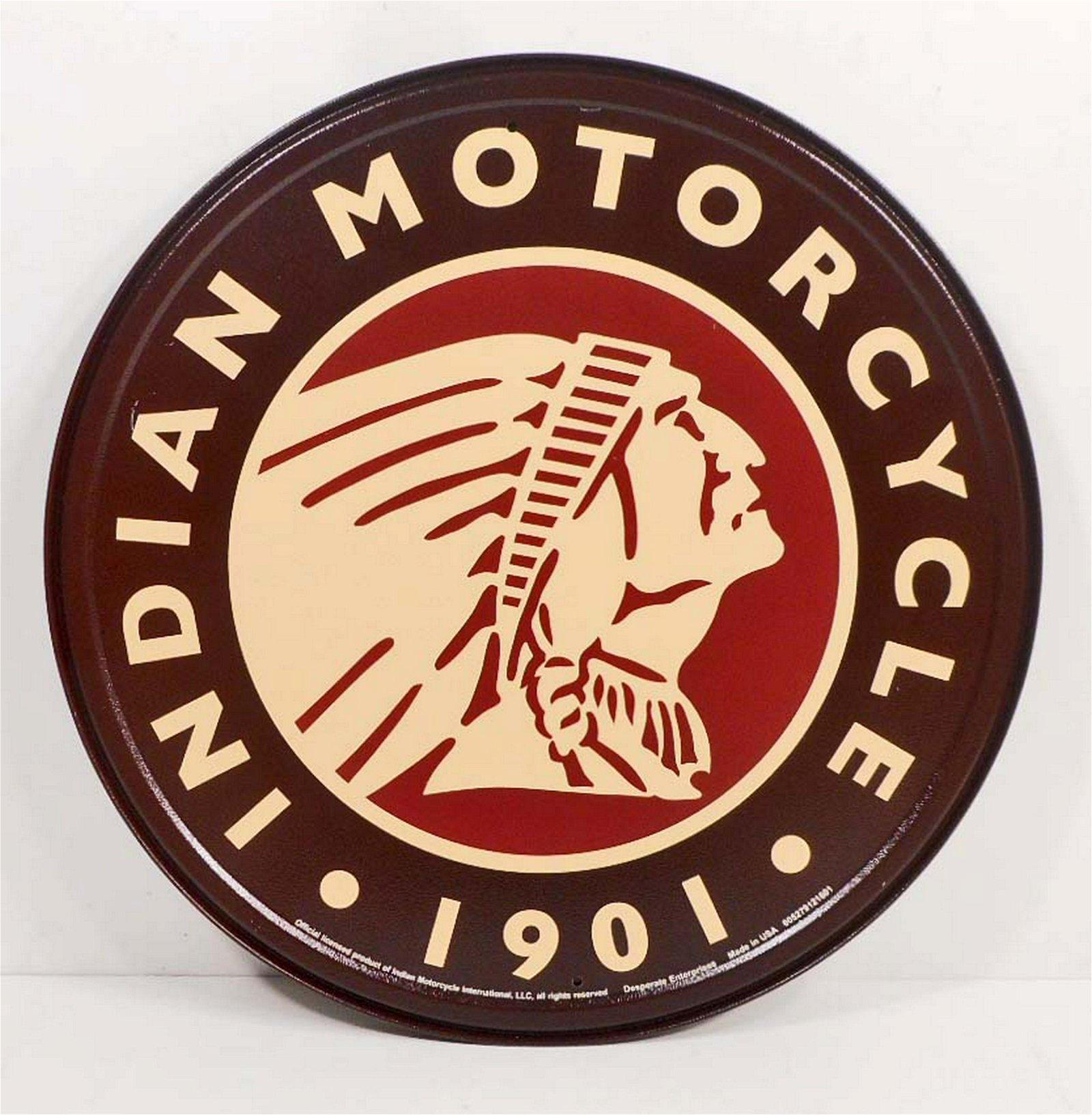 INDIAN MOTORCYCLE ROUND METAL ADVERTISING SIGN