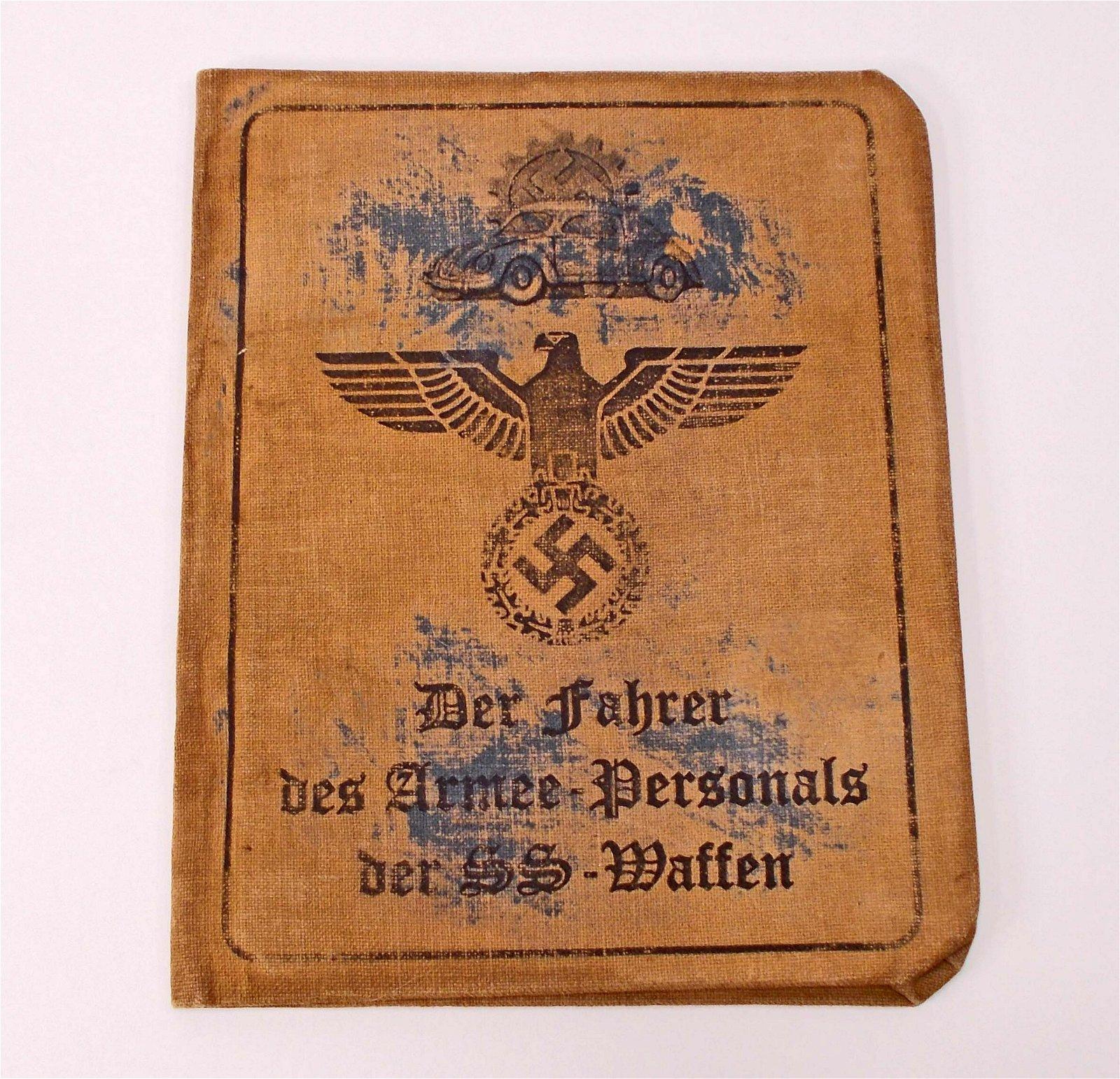 GERMAN NAZI SS DER FAHRER IDENTIFICATION BOOK