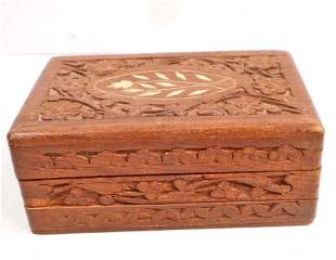 CARVED INLAID WOODEN BOX W SECRET SLIDE OPENING