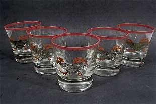 SET OF 5 SHOT GLASSES W ROOSTER DESIGN