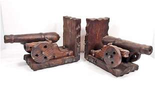 PAIR OF VINTAGE WOODEN CANNON BOOKENDS