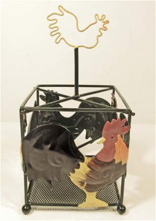 METAL ROOSTER CONDIMENT HOLDER W HANDLE
