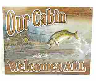 OUR CABIN FISHING METAL SIGN