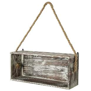 Rustic Torch Wood Floating Shelf Box with Thick Hanging