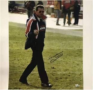 Autographed/Signed Mike Ditka Middle Finger Flipping