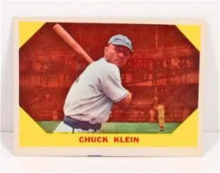 1960 FLEER CHUCK KLEIN NO 30 BASEBALL GREATS CARD