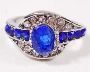 BLUE SAPPHIRE TOPAZ SILVER RING SIZE 7