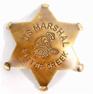 SUTTER CREEK US MARSHAL 6 POINT STAR BADGE