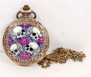 SKULLS AND ROSES POCKET WATCH W CHAIN