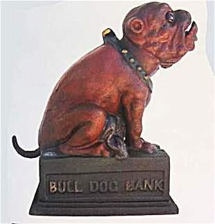 CAST IRON MECHANICAL BULLDOG BANK