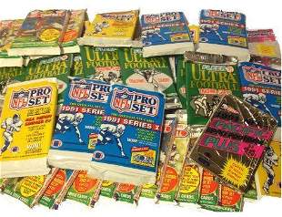 100 Vintage Football Cards in Old Sealed Wax Packs