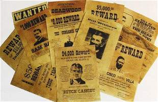 SET OF 12 OLD WEST WANTED POSTERS