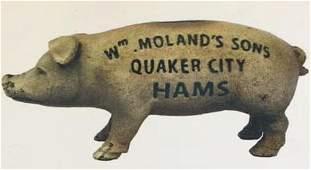 CAST IRON HAMS ADVERTISING PIG STILL BANK