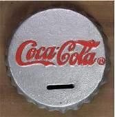 CAST IRON SILVER COCACOLA BOTTLE CAP BANK