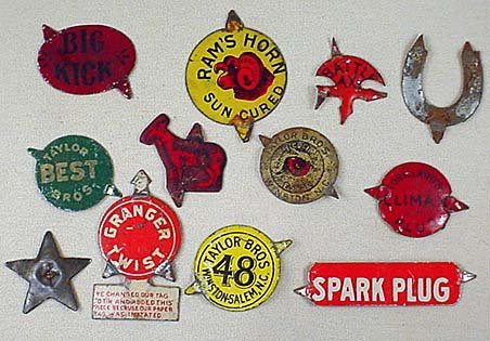 3: LOT OF 12 VINTAGE TIN TOBACCO TAGS