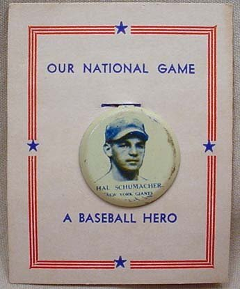 4: 1932 HAL SCHUMACHER NEW YORK GIANTS BASEBALL CELLULO