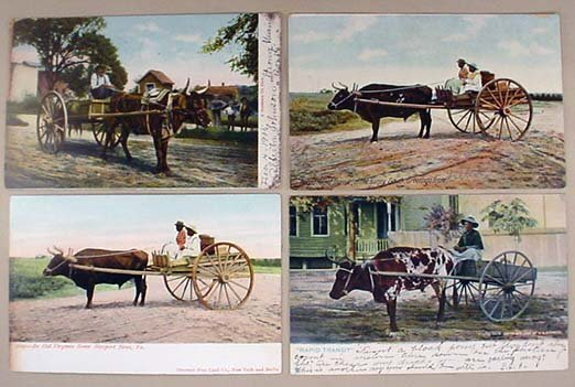 10: LOT OF 4 EARLY BLACK AMERICANA POSTCARDS - OX CARTS