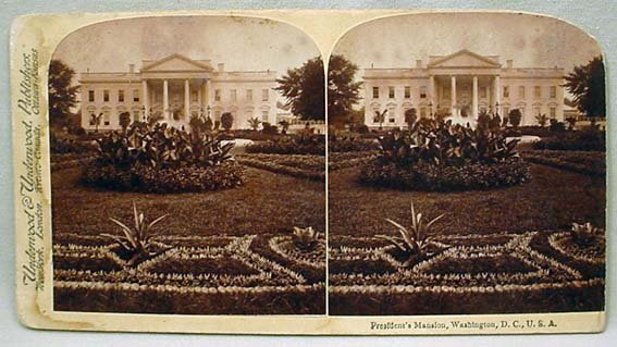 "20: C. 1890'S THE PRESIDENT'S ""MANSION"" STEREOVIEW CARD"