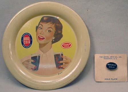 23: C. 1930'S DOUBLE COLA ADVERTISING TIP TRAY AND PIN