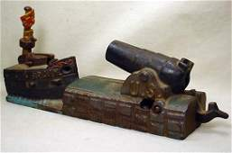 121: RARE 1875 US / SPAIN CAST IRON MECHANICAL BANK BY