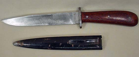 261: RARE WW2 NAZI GERMAN BOOT KNIFE W/ METAL SCABBORD