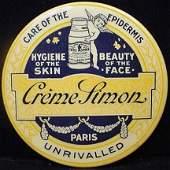 420: VINTAGE ADVERTISING POCKET MIRROR - CREME SIMON PA