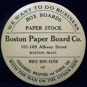432: VINTAGE ADVERTISING POCKET MIRROR - BOSTON PAPER C