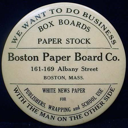 VINTAGE ADVERTISING POCKET MIRROR - BOSTON PAPER C