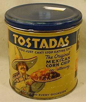 3: C. 1940'S TOSTADAS CORN CHIP ADVERTISING TIN