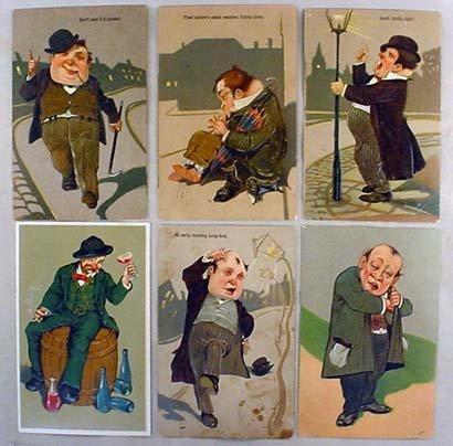 13: LOT OF 6 C. 1907 LARGE DRUNK MEN POSTCARDS - EMBOSS