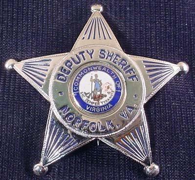 20: NORFOLK, VA. DEPURTY SHERIFF BADGE - MAKER MARKED O