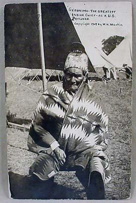 23: 1909 RPPC REAL PHOTO POSTCARD - GERONIMO AS A US PR