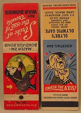 265: LOT OF 2 WW2 ANTI-HITLER MATCHBOOK COVERS
