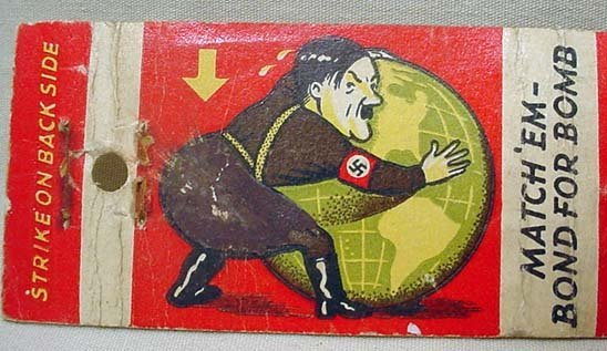 265: LOT OF 2 WW2 ANTI-HITLER MATCHBOOK COVERS - 2