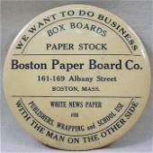 395: VINTAGE ADVERTISING POCKET MIRROR - BOSTON PAPER C