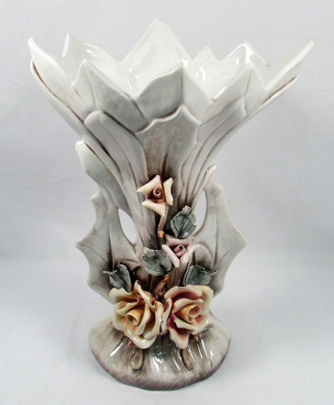 1: LARGE VINTAGE CAPODIMONTE VASE - MADE IN ITALY - A