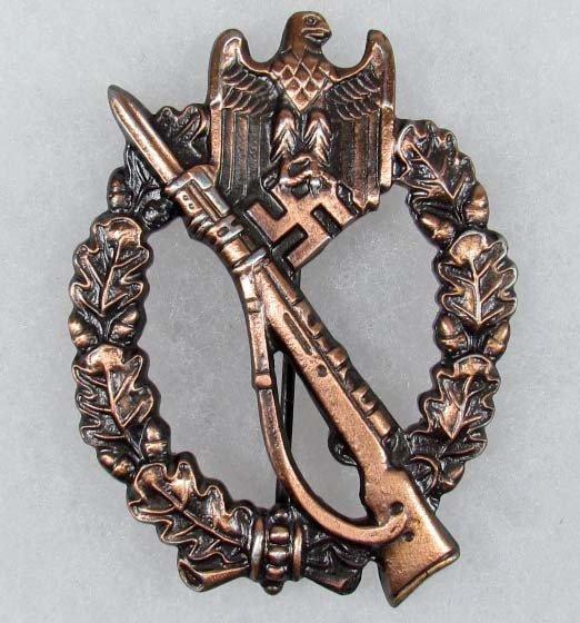 14: WW2 GERMAN NAZI ARMY BRONZE INFANTRY ASSAULT BADGE