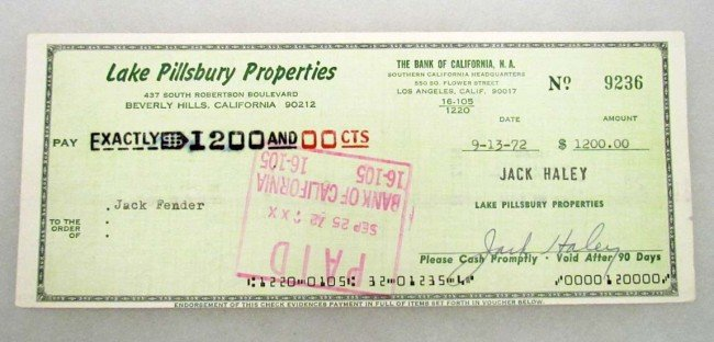 15: 1972 HAND SIGNED CHECK BY JACK HALEY - TINMAN FROM