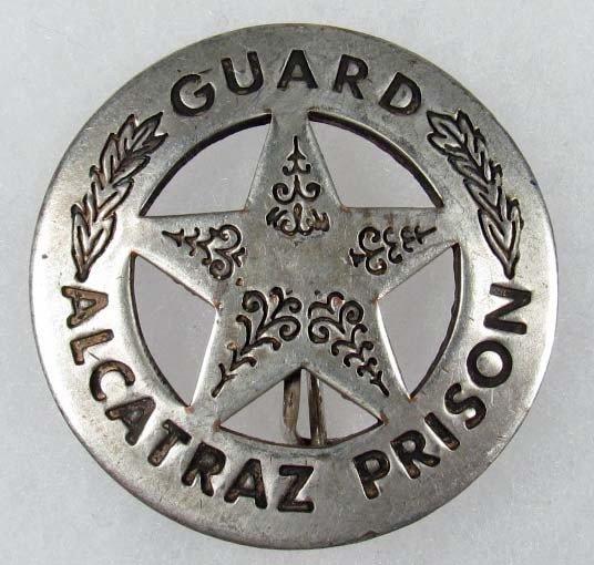 18: VINTAGE ALCATRAZ PRISON GUARD LAW BADGE W/ THIN VE