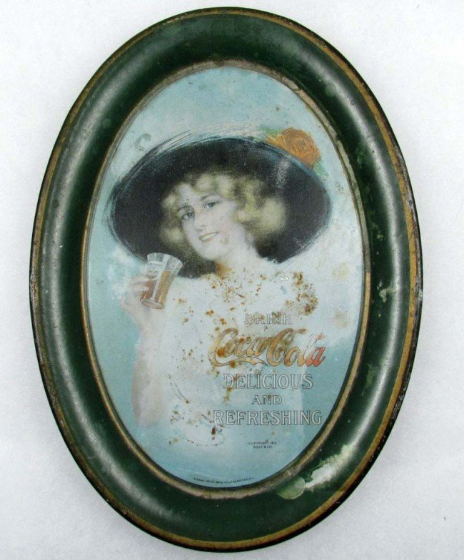 """20: C. 1912 COCA COLA TIP TRAY - Approx. 6"""" by 4.25""""."""