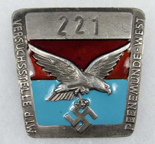 22: WW2 GERMAN NAZI PEENEMUNDE-WEST ENAMELED BADGE - F