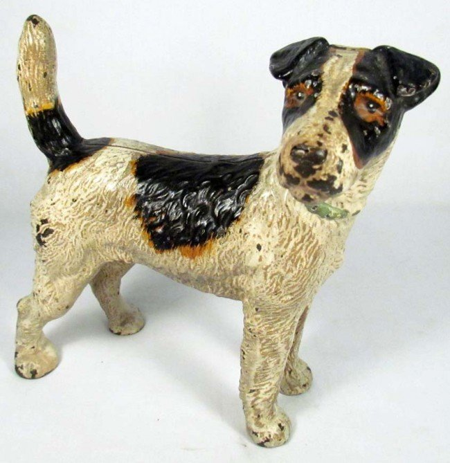 91: ANTIQUE CAST IRON JACK RUSSELL TERRIER DOG STATUE
