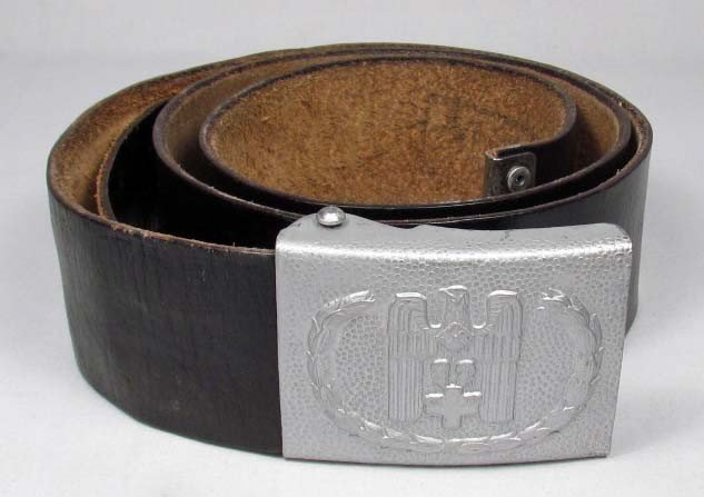 308: WW2 GER RED CROSS EM BELT AND BUCKLE - Black leath