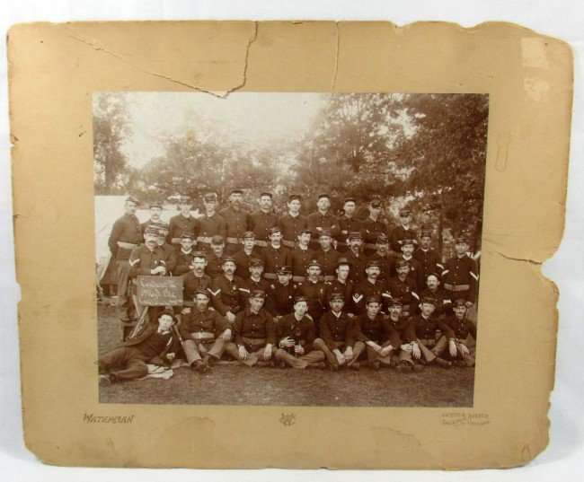 320: 1895 LARGE PHOTO OF US INDIAN WAR SOLDIERS AT CAMP