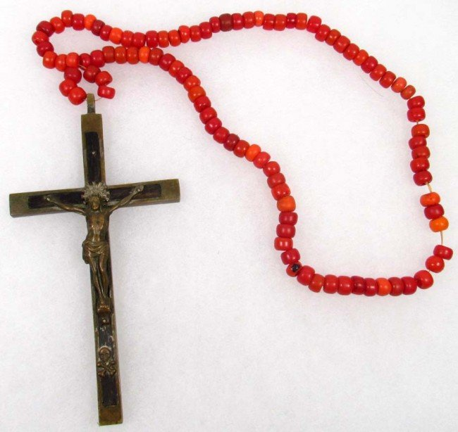 323: RARE C 1800'S TRADE BEAD AND CRUCIFIX NECKLACE SIM