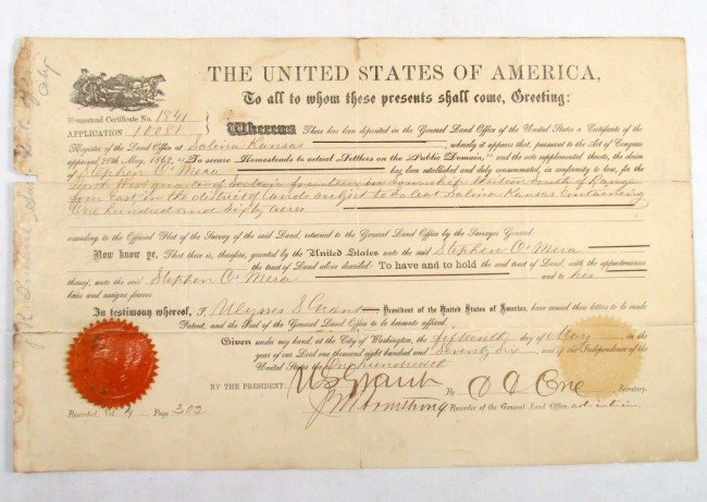 324: 1941 US LAND GRAND SIGNED BY PRESIDENT ULYSSES S.