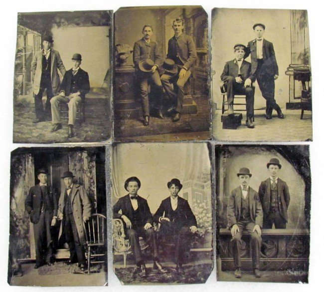 9: LOT OF 6 TINTYPE PHOTOS OF DAPPER YOUNG MEN W/ HATS