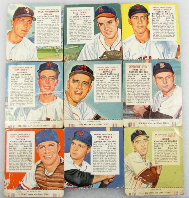 11: LOT OF 9 1954-55 RED MAN BASEBALL TOBACCO CARDS