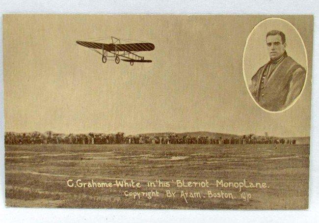 8: 1910 AVIATION MONOPLANE G GRAHAME WHITE PHOTO POSTCA